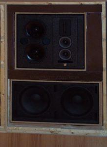 UMass Lowell critical listening Bag End speaker setup