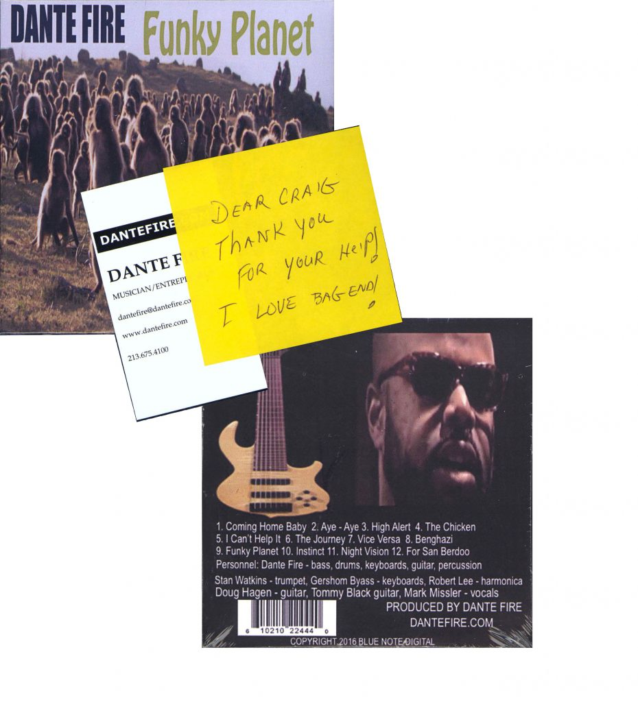 Dante Fire CD and Message to Bag End