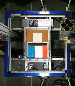 Pastel drawing mounted horizontally on testing frame above Bag End Subwoofer
