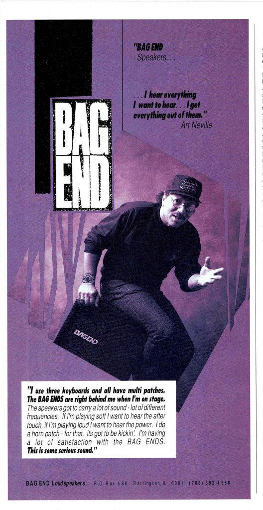Art Neville with his Bag End Speaker in Keyboard Player Magazine, Circa 1990