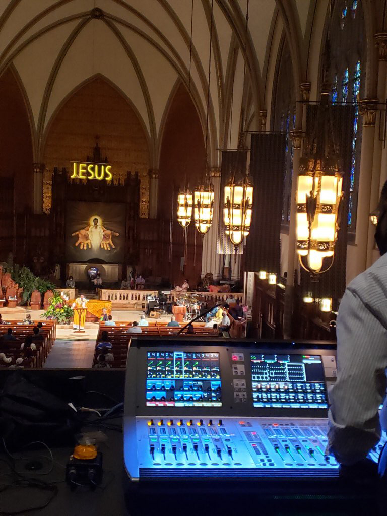 St. Sabina and the new mixing board installed by Bag End Loudspeakers